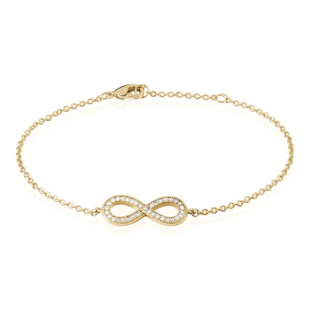 Bracelet Merane Plaque Or Jaune Oxyde De Zirconium - Bracelets Infini Femme   Histoire d'Or