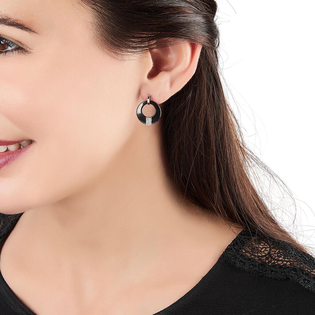 Boucles D'oreilles Pendantes Argent Céramique Et Oxyde De Zirconium - Boucles d'oreilles fantaisie Femme | Histoire d'Or
