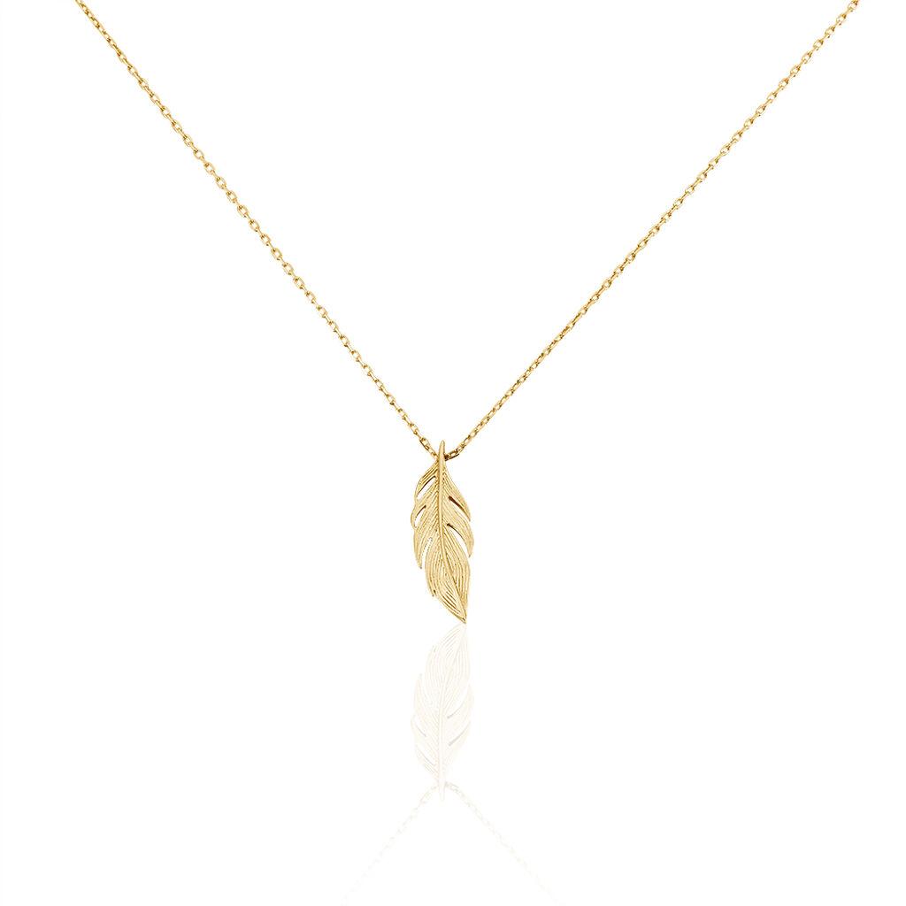 Collier Hanae Plaque Or Jaune - Colliers Plume Femme   Histoire d'Or