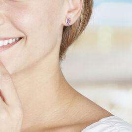 Boucles D'oreilles Pendantes Petale Or Jaune Amethyste Et Oxyde - Boucles d'oreilles pendantes Femme | Histoire d'Or