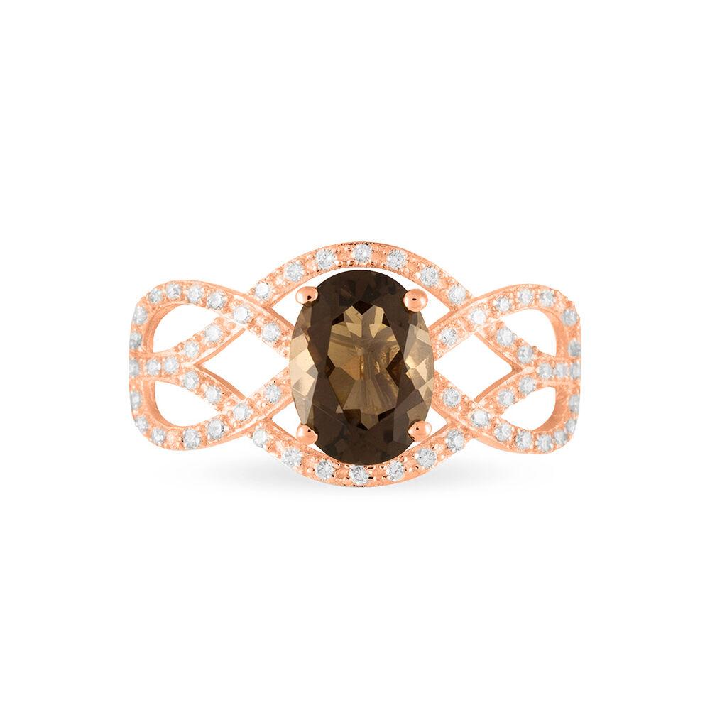 Bague Tina Or Rose Quartz Et Oxyde De Zirconium - Bagues avec pierre Femme | Histoire d'Or