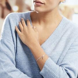 Bracelet Satia Argent Blanc Oxyde De Zirconium - Bracelets Croix Femme | Histoire d'Or