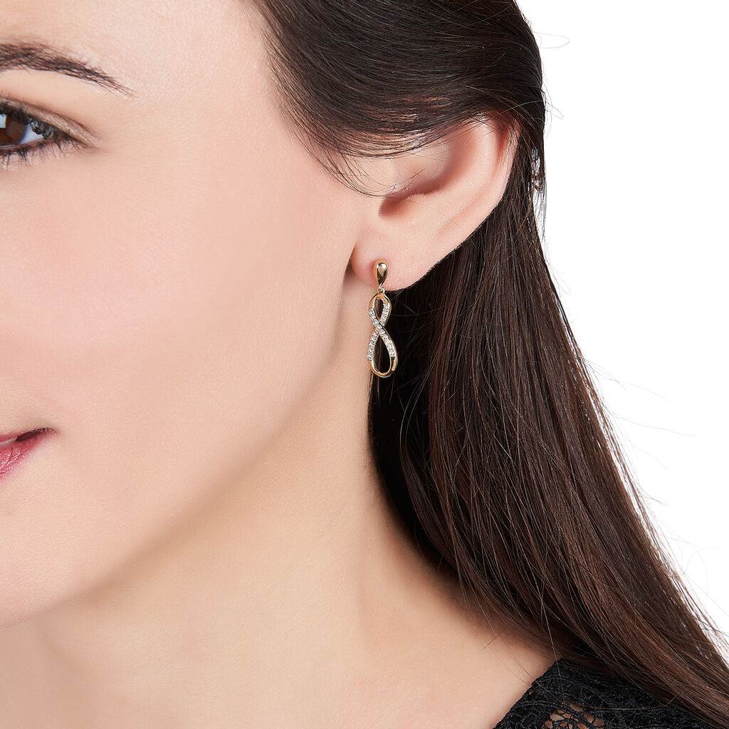 Boucles D'oreilles Pendantes Dunya Plaque Or Jaune Oxyde De Zirconium - Boucles d'Oreilles Infini Femme   Histoire d'Or