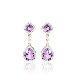 Boucles D'oreilles Pendantes Vannina Or Rose Amethyste Diamant - Boucles d'oreilles pendantes Femme | Histoire d'Or
