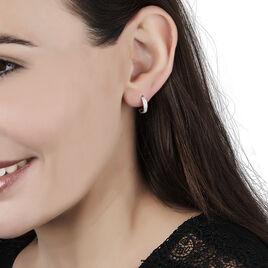 Créoles Vincenne Rondes Or Blanc Diamant - Boucles d'oreilles créoles Femme | Histoire d'Or