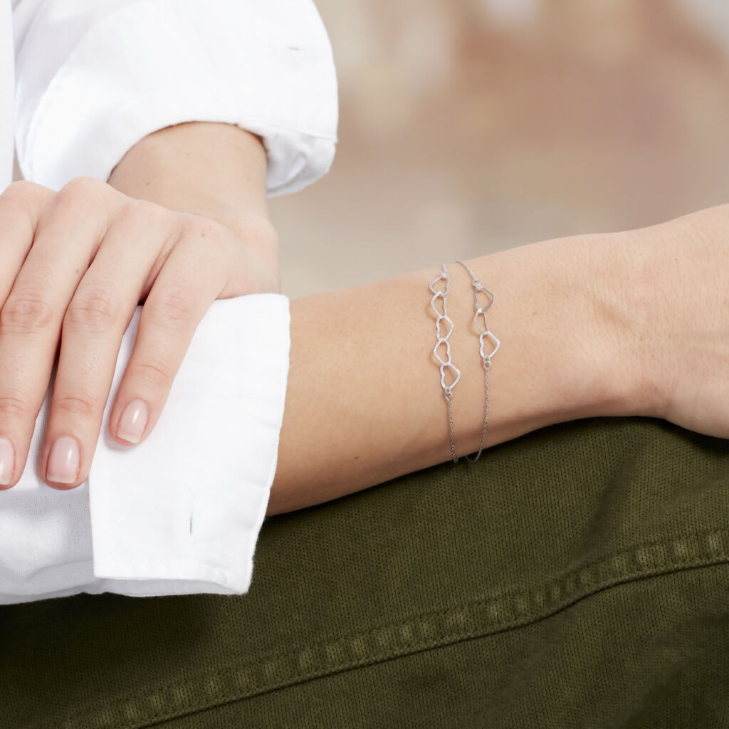 Bracelet Chiara Argent Blanc - Bracelets Coeur Femme | Histoire d'Or