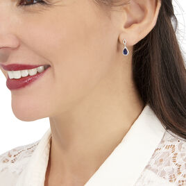 Boucles D'oreilles Puces Sissi Or Blanc Saphir Et Diamant - Boucles d'oreilles pendantes Femme   Histoire d'Or