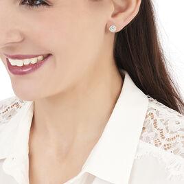Boucles D'oreilles Puces Adriana Rond Or Blanc Oxyde De Zirconium - Clous d'oreilles Femme   Histoire d'Or