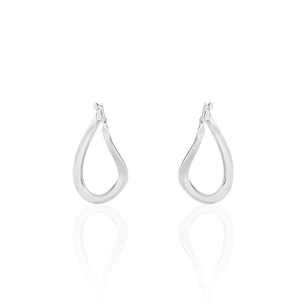 Créoles Olivia Vrillé Fil Triangle Argent Blanc - Boucles d'oreilles créoles Femme   Histoire d'Or