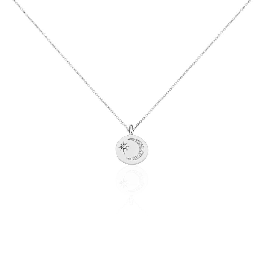 Collier Araroundus Argent Blanc Oxyde De Zirconium - Colliers Lune Femme | Histoire d'Or