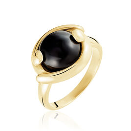 Bague Laiton Dore Et Onyx Noir - Bagues avec pierre Femme | Histoire d'Or