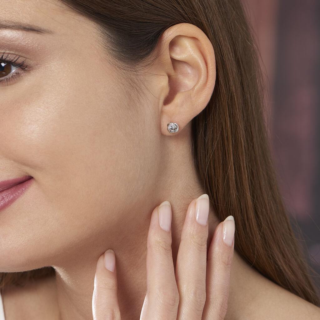 Boucles D'oreilles Puces Iloa Argent Blanc - Boucles d'oreilles fantaisie Femme | Histoire d'Or