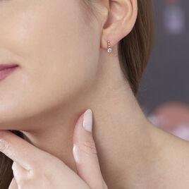 Boucles D'oreilles Puces Malaga Argent Rose Oxyde De Zirconium - Boucles d'oreilles fantaisie Femme   Histoire d'Or