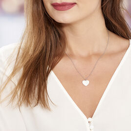 Collier Parce-que Je T'aime Argent Blanc - Colliers Coeur Femme | Histoire d'Or
