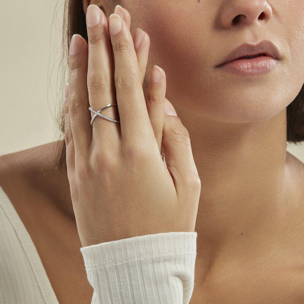 Bague Miya Argent Blanc Oxyde De Zirconium - Bagues avec pierre Femme   Histoire d'Or