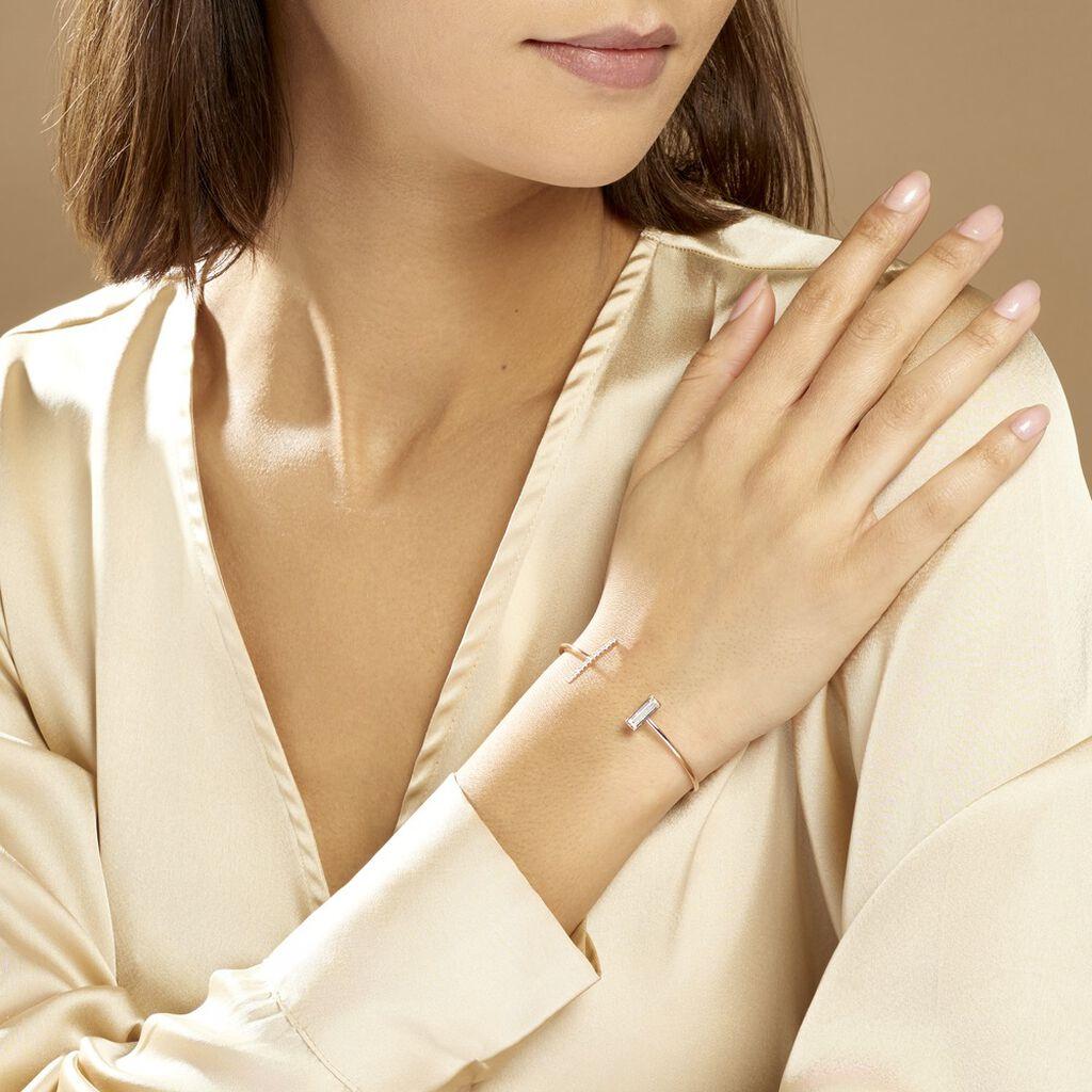 Bracelet Jonc Tea Argent Blanc Oxyde De Zirconium - Bracelets fantaisie Femme   Histoire d'Or
