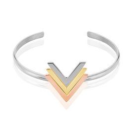 Bracelet Jonc Olivia Acier Tricolore - Bracelets fantaisie Femme | Histoire d'Or