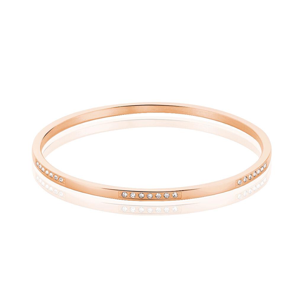 Bracelet Jonc Acier Rose Strass - Bracelets fantaisie Femme   Histoire d'Or