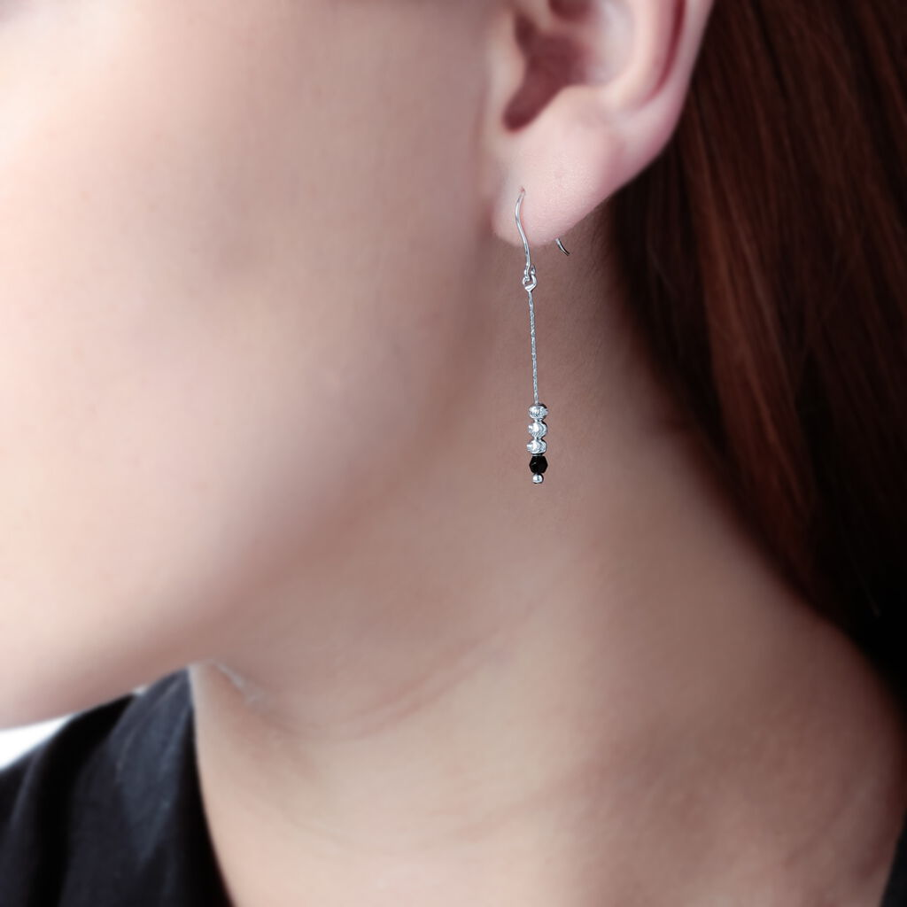 Boucles D'oreilles Pendantes Cyprielle Argent Blanc Pierre De Synthese - Boucles d'oreilles fantaisie Femme | Histoire d'Or