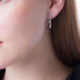 Boucles D'oreilles Pendantes Morena Argent Blanc Ambre - Boucles d'oreilles fantaisie Femme | Histoire d'Or