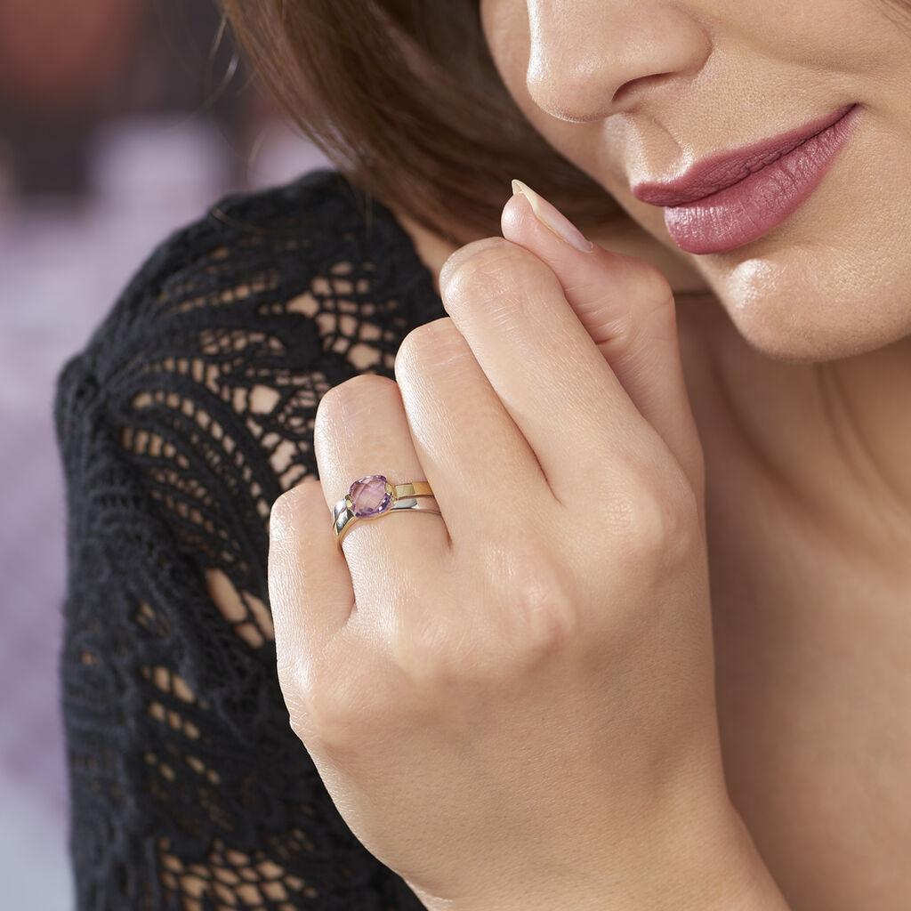 Bague Suzana Or Bicolore Amethyste - Bagues solitaires Femme | Histoire d'Or