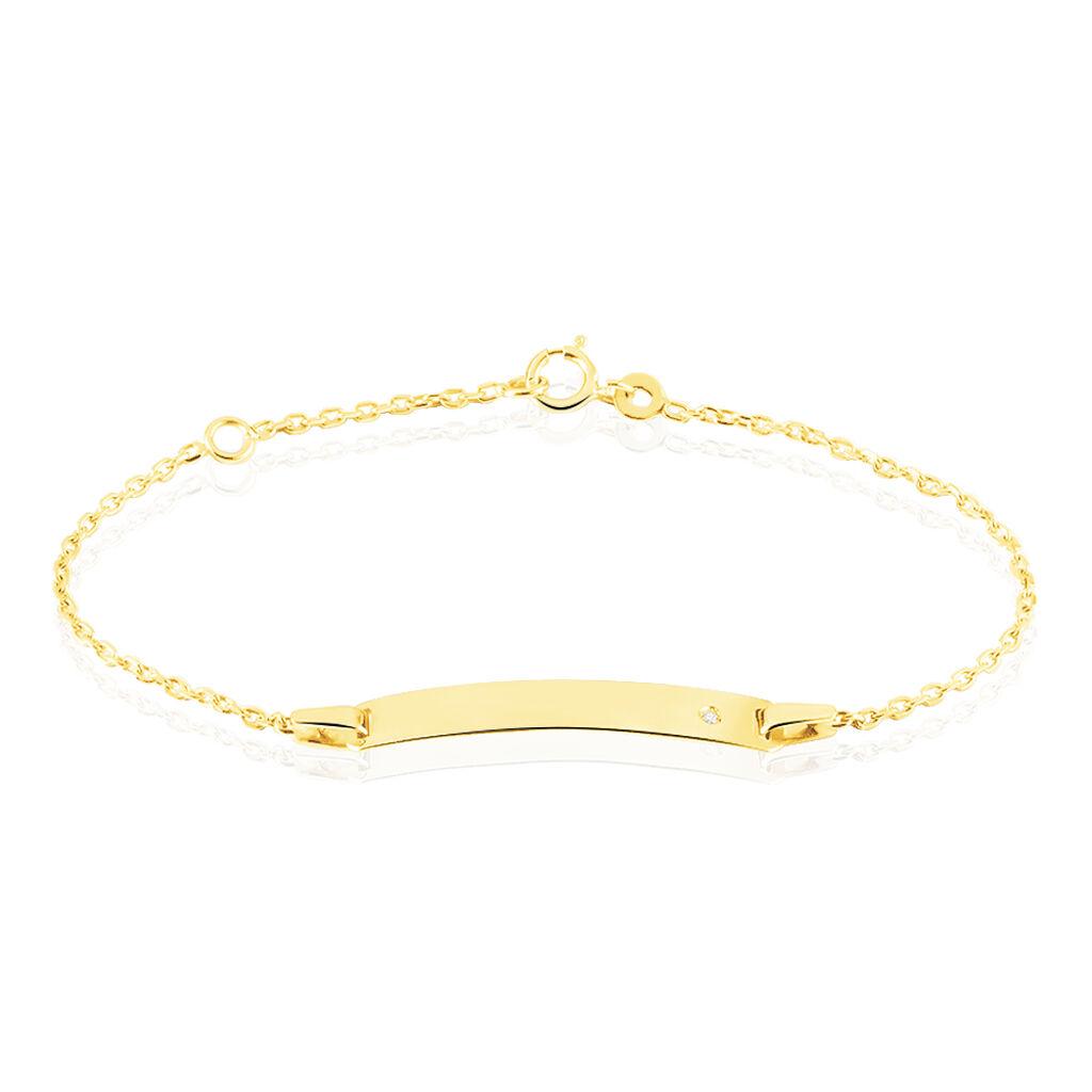 Bracelet Identité Gaspardine Maille Forçat Or Jaune Oxyde De Zirconium - Bracelets Communion Enfant | Histoire d'Or