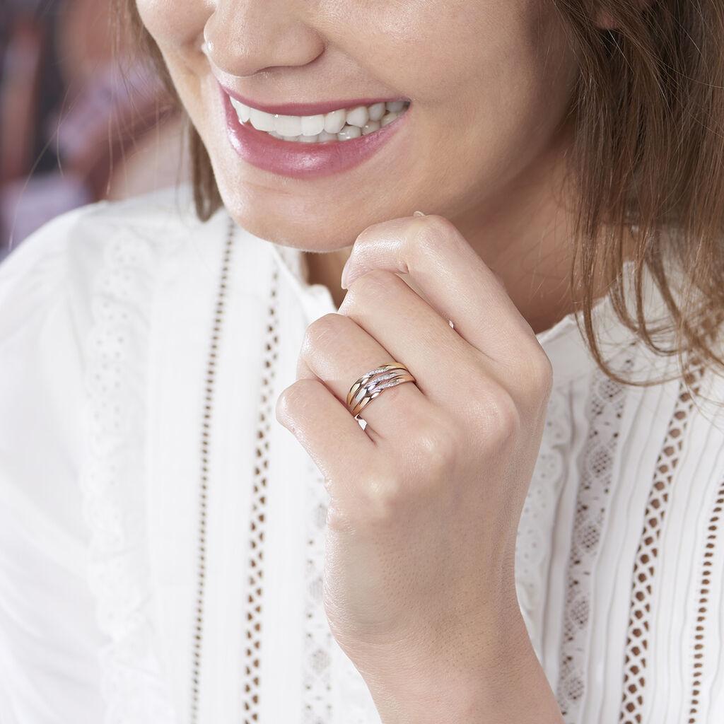 Bague Nesibe Or Tricolore Diamant - Bagues avec pierre Femme   Histoire d'Or