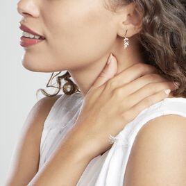 Boucles D'oreilles Pendantes Or Jaune Nahia Oxydes De Zirconium - Boucles d'Oreilles Plume Femme   Histoire d'Or