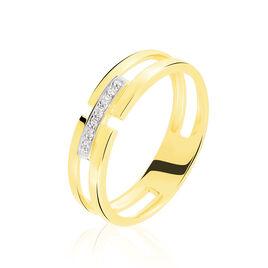 Bague Barrette Or Jaune Diamant - Bagues avec pierre Femme | Histoire d'Or