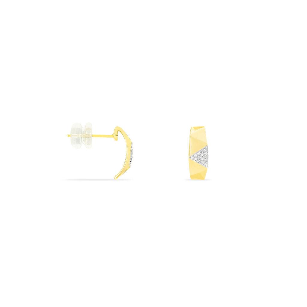 Boucles D'oreilles Puces Lizia Or Jaune Diamant - Clous d'oreilles Femme   Histoire d'Or
