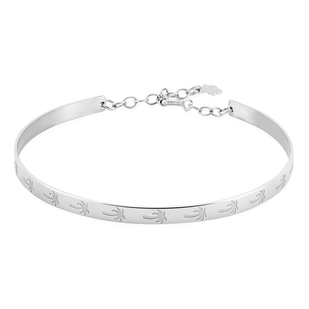 Bracelet Jonc Loona Argent Blanc - Bracelets fantaisie Femme | Histoire d'Or