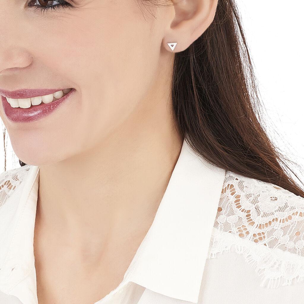 Boucles D'oreilles Puces Severine Argent Blanc - Boucles d'oreilles fantaisie Femme   Histoire d'Or