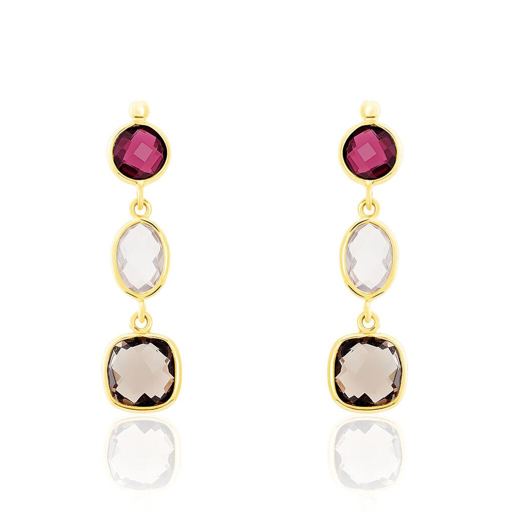 Boucles D'oreilles Pendantes Or Jaune Rhodolite Et Quartz - Boucles d'oreilles pendantes Femme   Histoire d'Or