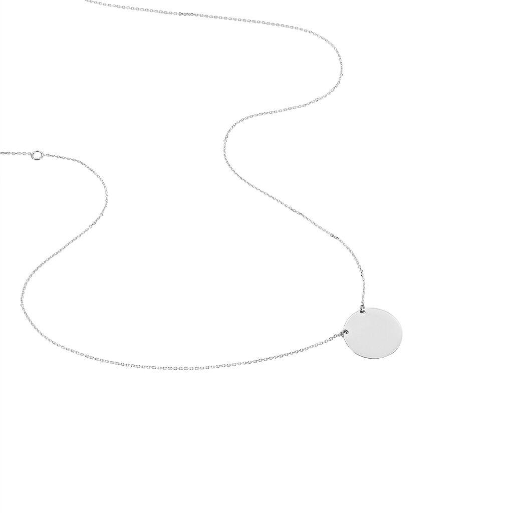 Collier Helenia Pastille Gravable Or Blanc - Colliers Naissance Enfant   Histoire d'Or