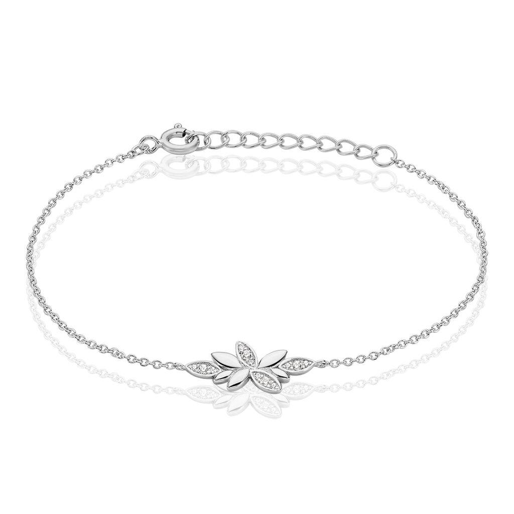 Bracelet Cesarine Argent Blanc Oxyde De Zirconium - Bracelets Plume Femme | Histoire d'Or