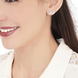 Boucles D'oreilles Puces Ada Or Blanc Oxyde De Zirconium - Clous d'oreilles Femme   Histoire d'Or