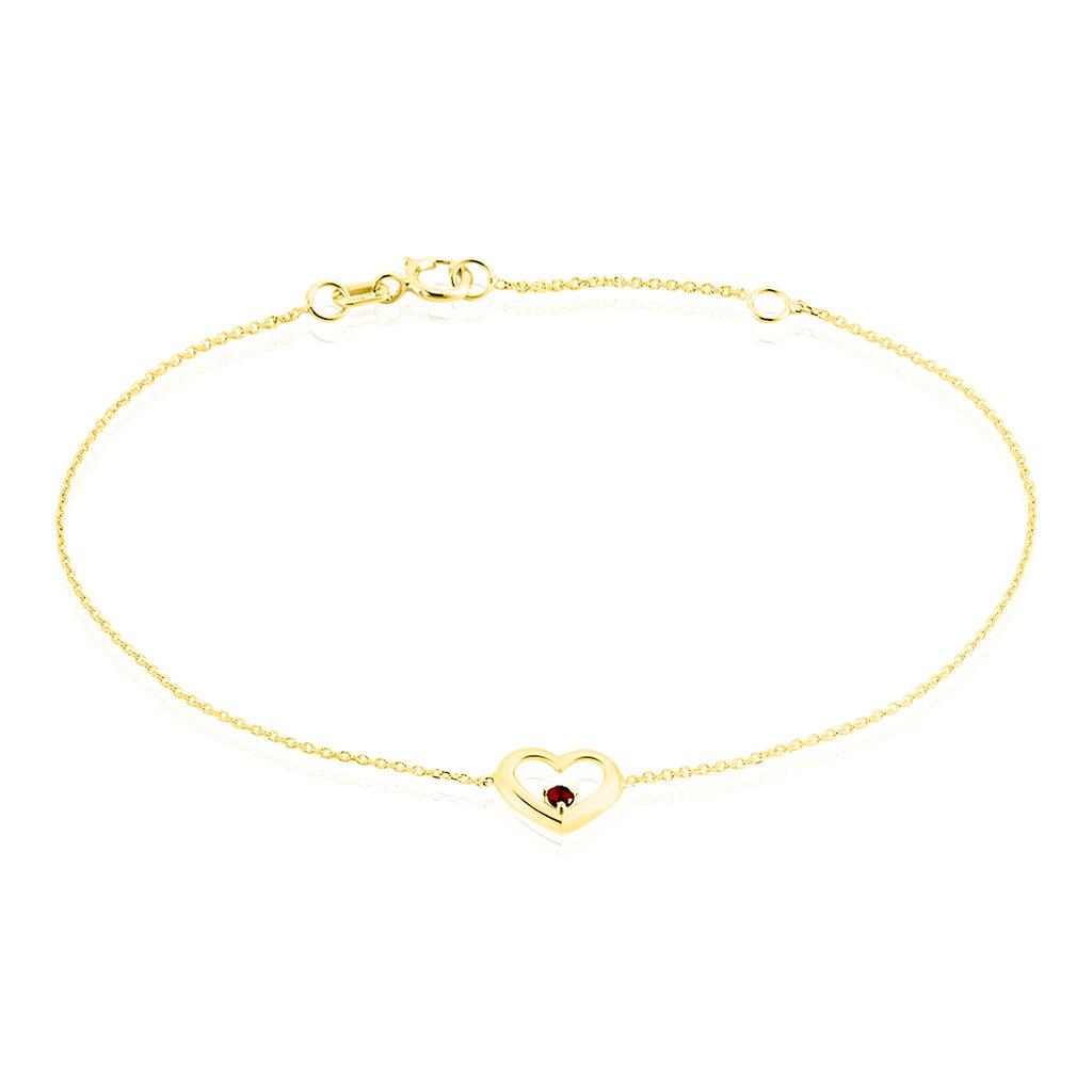 Bracelet Or Jaune Martella Cœur Et Rubis 18cm - Bijoux Femme | Histoire d'Or