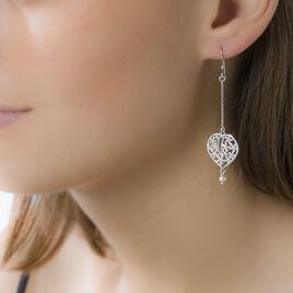 Boucles D'oreilles Pendantes Elettra Argent Blanc Perle De Culture - Boucles d'Oreilles Coeur Femme   Histoire d'Or