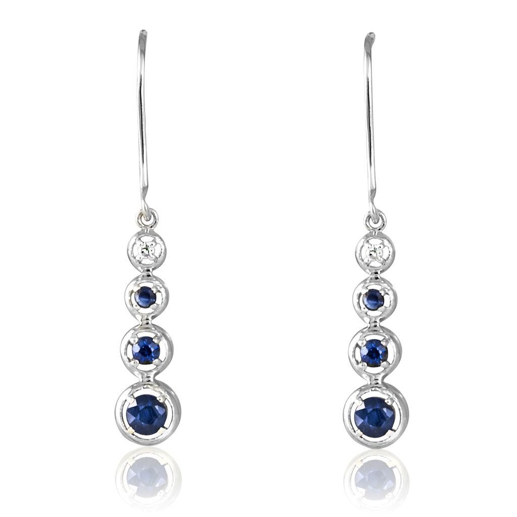Boucles D'oreilles Pendantes Josephine Or Blanc Saphir Et Diamant - Boucles d'oreilles pendantes Femme   Histoire d'Or