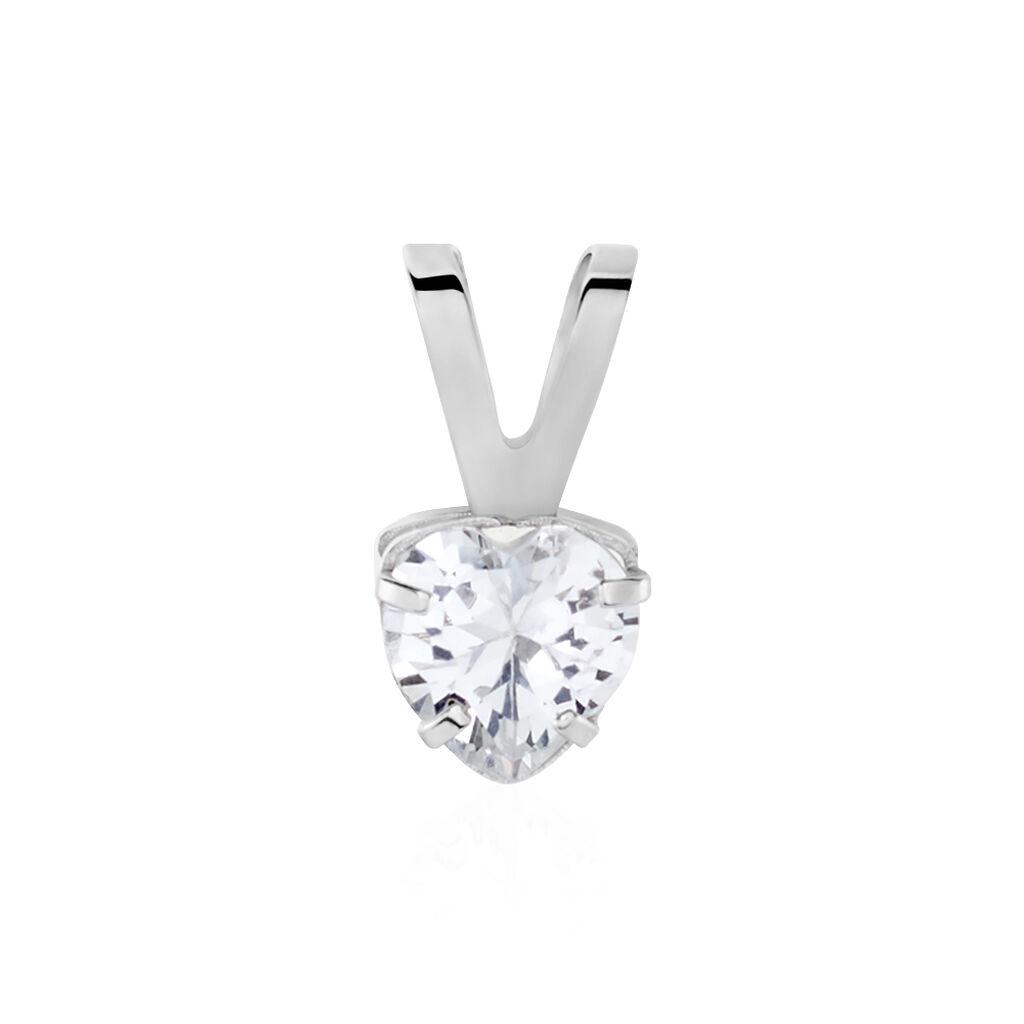 Pendentif Coeur Serti Griffe Or Blanc Oxyde De Zirconium - Pendentifs Coeur Femme   Histoire d'Or