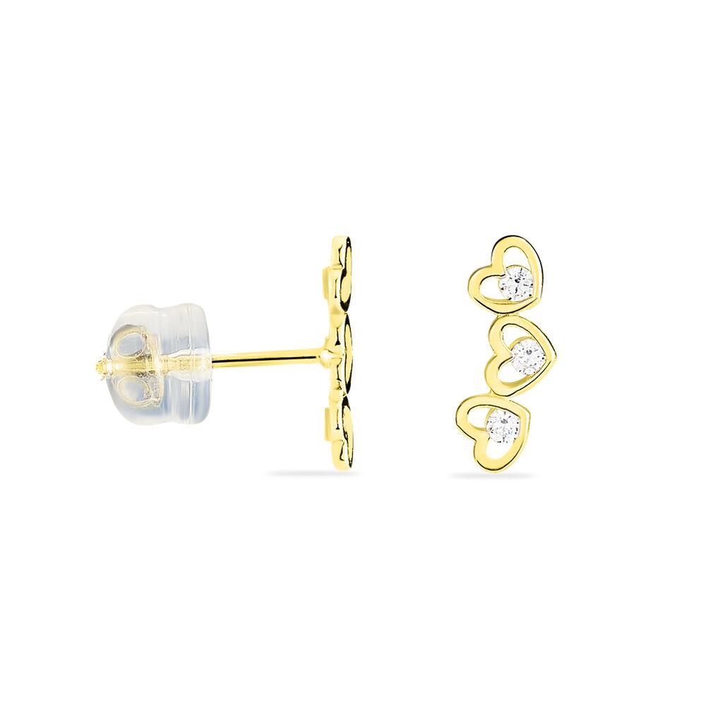 Boucles D'oreilles Puces Daria Coeur Triple Or Jaune Oxyde - Boucles d'Oreilles Coeur Femme | Histoire d'Or