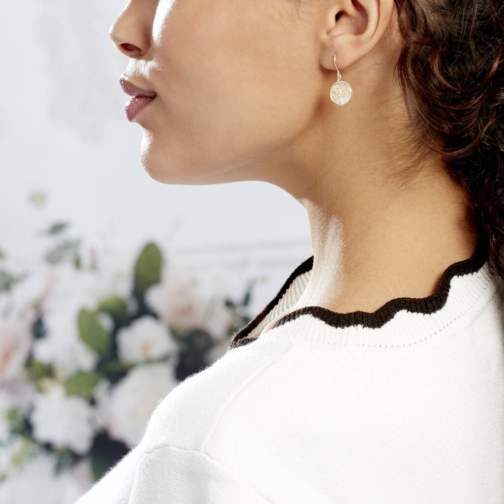 Boucles D'oreilles Pendantes Noamie Or Jaune Nacre - Boucles d'Oreilles Arbre de vie Femme   Histoire d'Or
