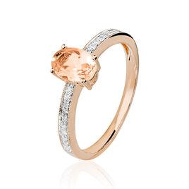 Bague Adelina Or Rose Morganite Et Diamant - Bagues solitaires Femme   Histoire d'Or
