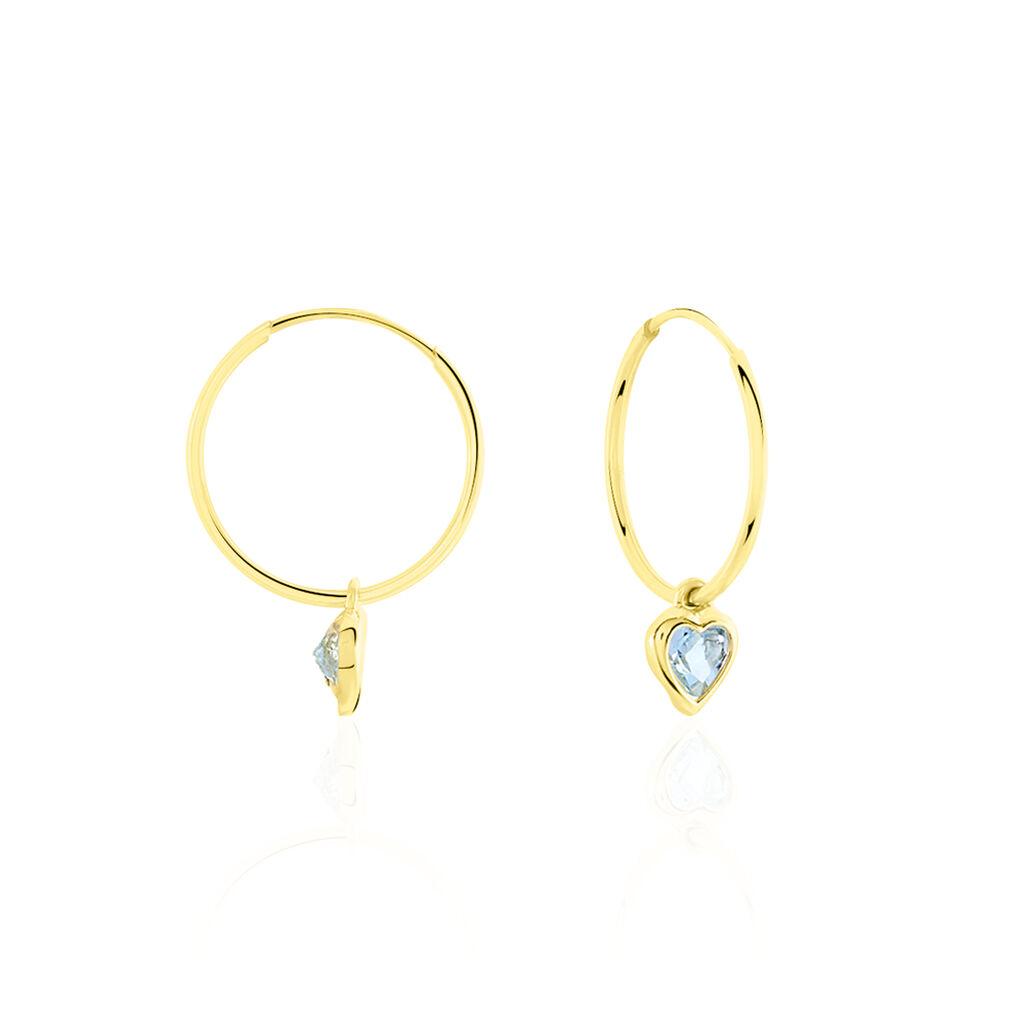 Créoles Marsie Coeur Or Jaune Topaze - Boucles d'Oreilles Coeur Femme   Histoire d'Or