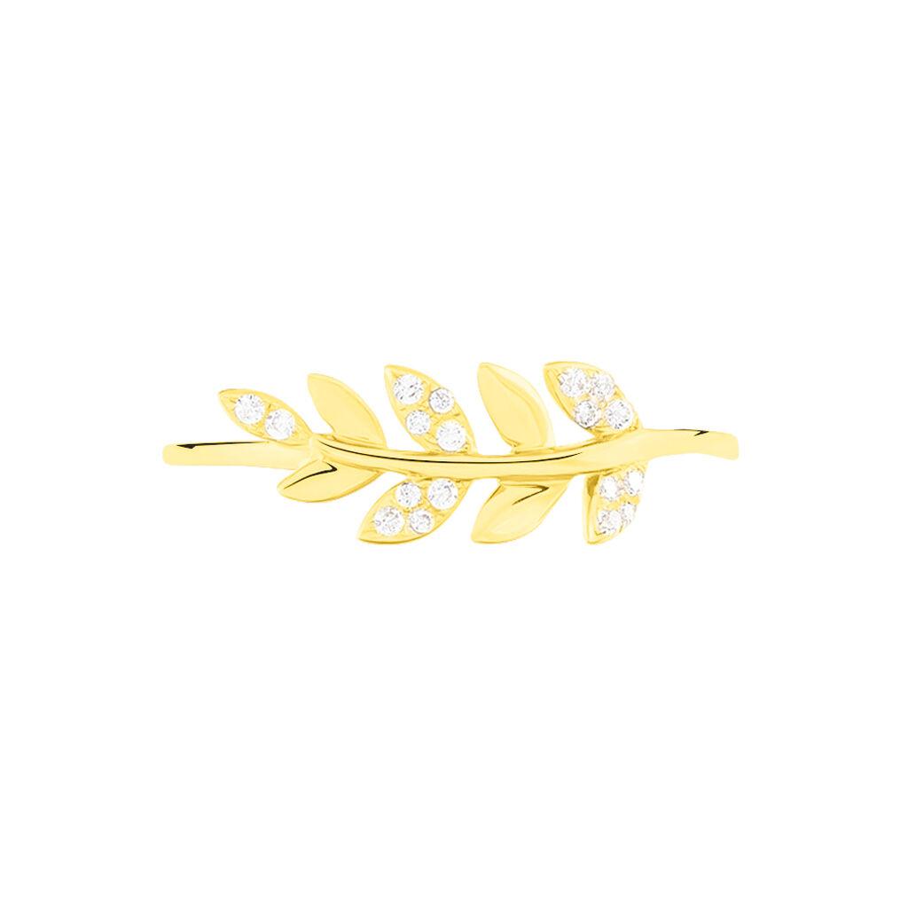 Bague Nahia Or Jaune Oxyde De Zirconium - Bagues Plume Femme | Histoire d'Or