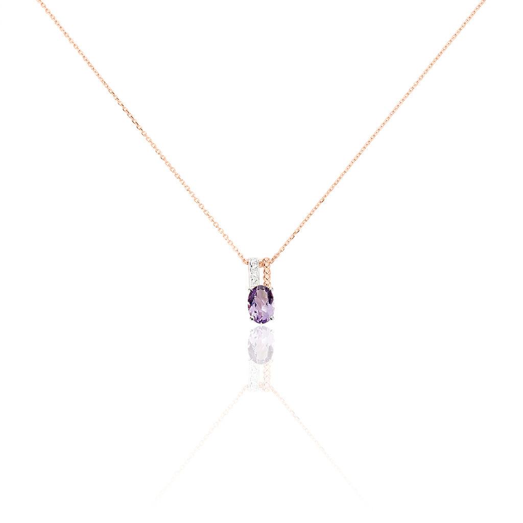 Collier Frannie Or Rose Amethyste Et Oxyde De Zirconium - Bijoux Femme | Histoire d'Or