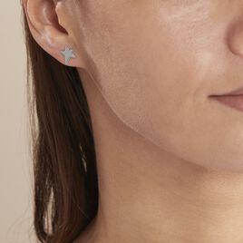 Boucles D'oreilles Puces Eloisa Argent Blanc - Boucles d'Oreilles Etoile Femme   Histoire d'Or