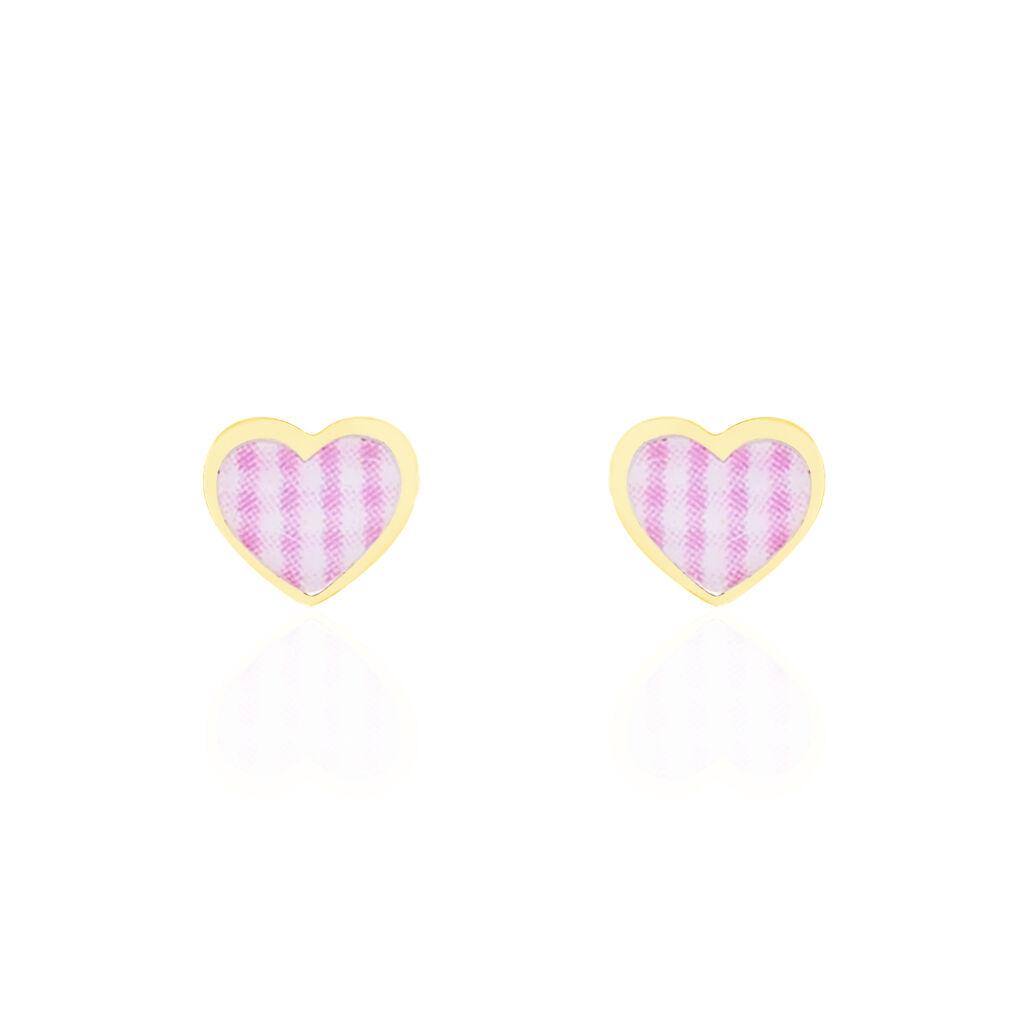 Boucles D'oreilles Puces Theosie Coeur Or Jaune - Boucles d'Oreilles Coeur Enfant | Histoire d'Or