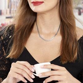Collier Kalyane Maille Heringbone Argent Blanc - Colliers fantaisie Femme | Histoire d'Or