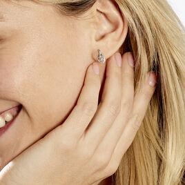 Boucles D'oreilles Sagesse Or Blanc Topaze Oxyde - Clous d'oreilles Femme   Histoire d'Or